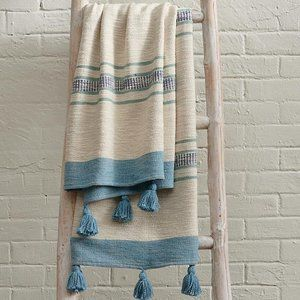 Blue and White Striped Woven Throw
